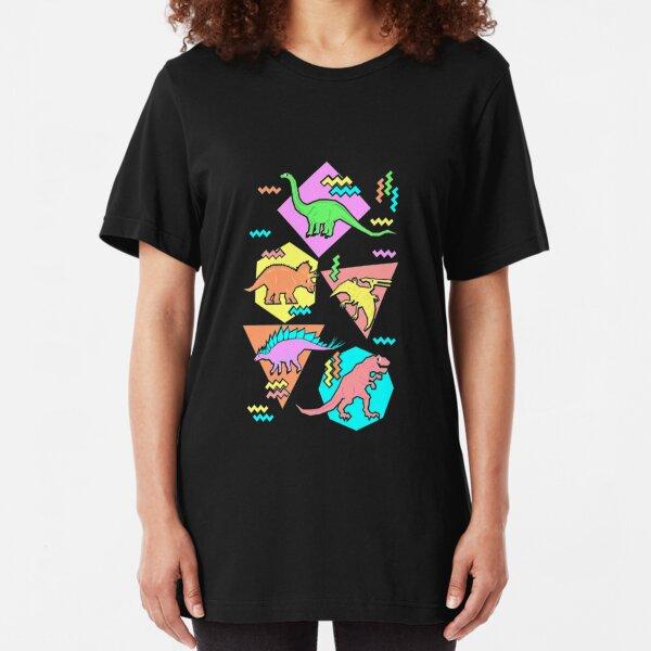 Nineties Dinosaur Pattern Slim Fit T-Shirt