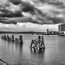 Cardiff Bay Panorama Mono by Steve Purnell