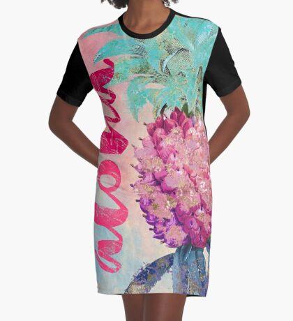 Aloha Pineapple Graphic T-Shirt Dress