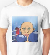 Head of Andry Boxer on Blue Blurred Background Unisex T-Shirt
