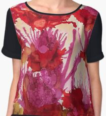 Beth's Red Flowers, Alcohol Inks Chiffon Top