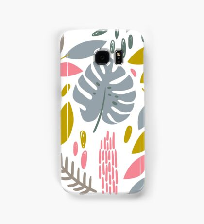 Beautiful tropical pattern with pink, gray and gold leaves. Samsung Galaxy Case/Skin