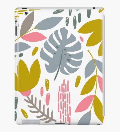 Beautiful tropical pattern with pink, gray and gold leaves. iPad Case/Skin