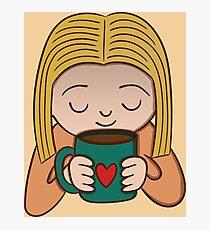 I Love Coffee Girl Photographic Print