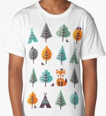 Fox in the Forest - on Gray Long T-Shirt