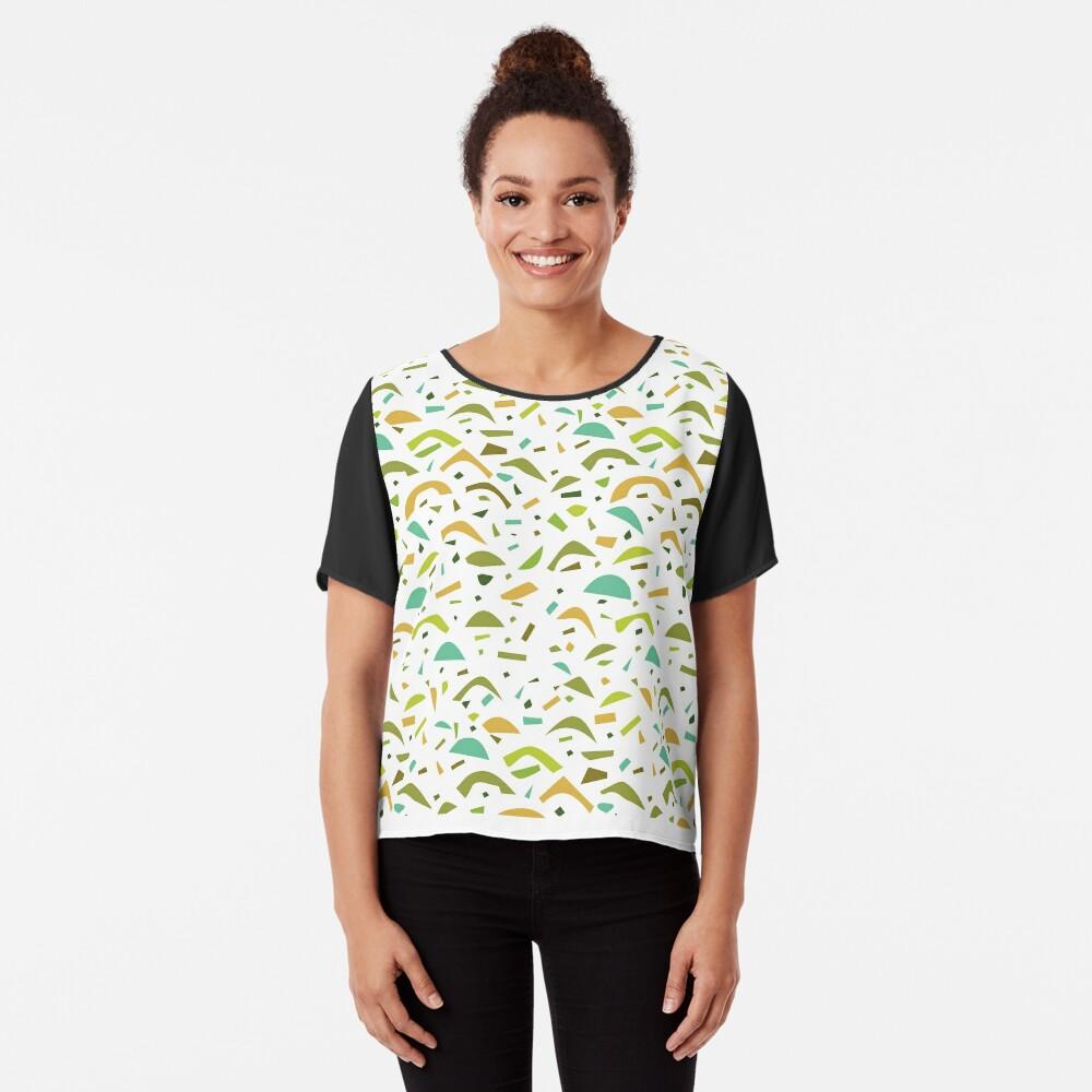 Abstract Yellow Green Shape Pattern Chiffon Top