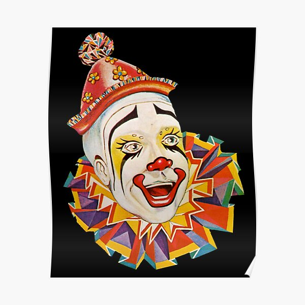 CLOWN. Scary. Horror. CLOWN. Clown Head, Circus, Vintage, Advertising, Poster, on Black. Poster