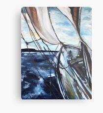 boot segelboot schiff sturm seegang meer segel acryl malerei Metal Print