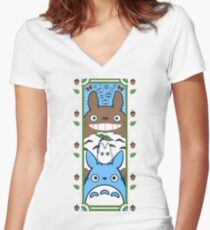Forest Spirit Tower Women's Fitted V-Neck T-Shirt