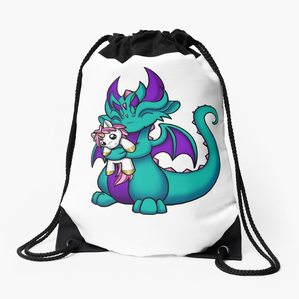 Dragon with Unicorn Plushie Drawstring Bag