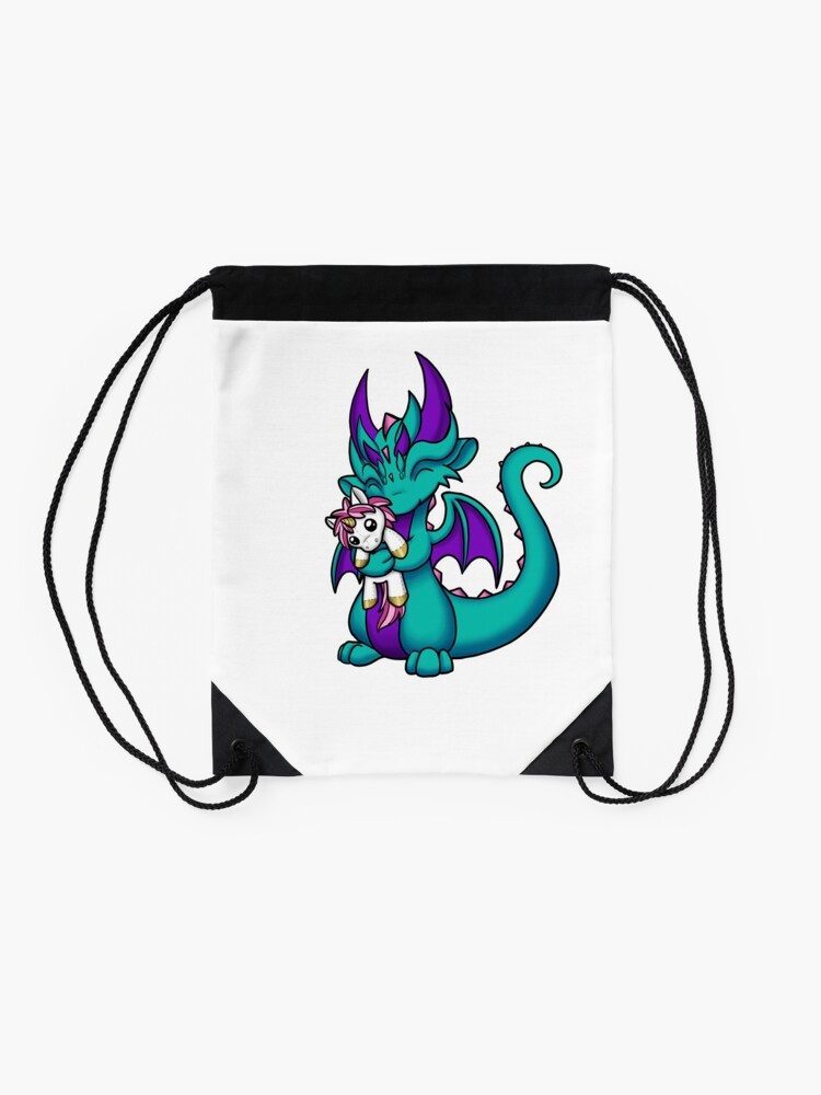 Alternate view of Dragon with Unicorn Plushie Drawstring Bag