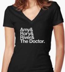 Amy & Rory & River & The Doctor. Women's Fitted V-Neck T-Shirt