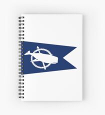 Classic Blue and White Nantucket Island White Sperm Whale Burgee Flag Pennant Spiral Notebook
