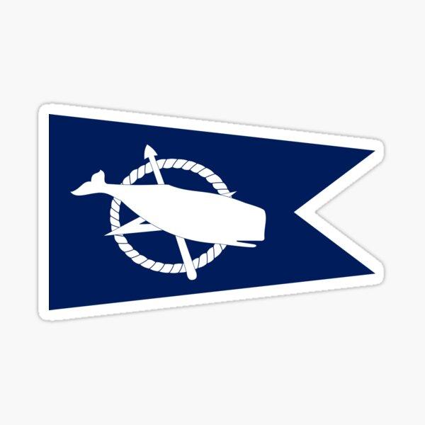 Classic Blue and White Nantucket Island White Sperm Whale Burgee Flag Pennant Sticker