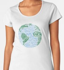 Protect Earth - Blue Green Words for Earth Women's Premium T-Shirt