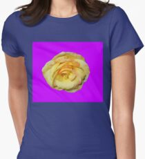 yellow rose, purple background 04/25/17 Womens Fitted T-Shirt