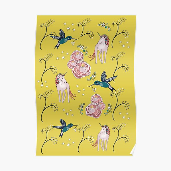 Unicorn and hummingbird Poster