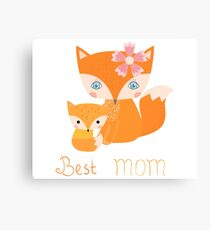 Mother and kid fox family - Best mom Canvas Print