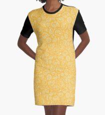Hedgehog Paisley_Yellow Graphic T-Shirt Dress