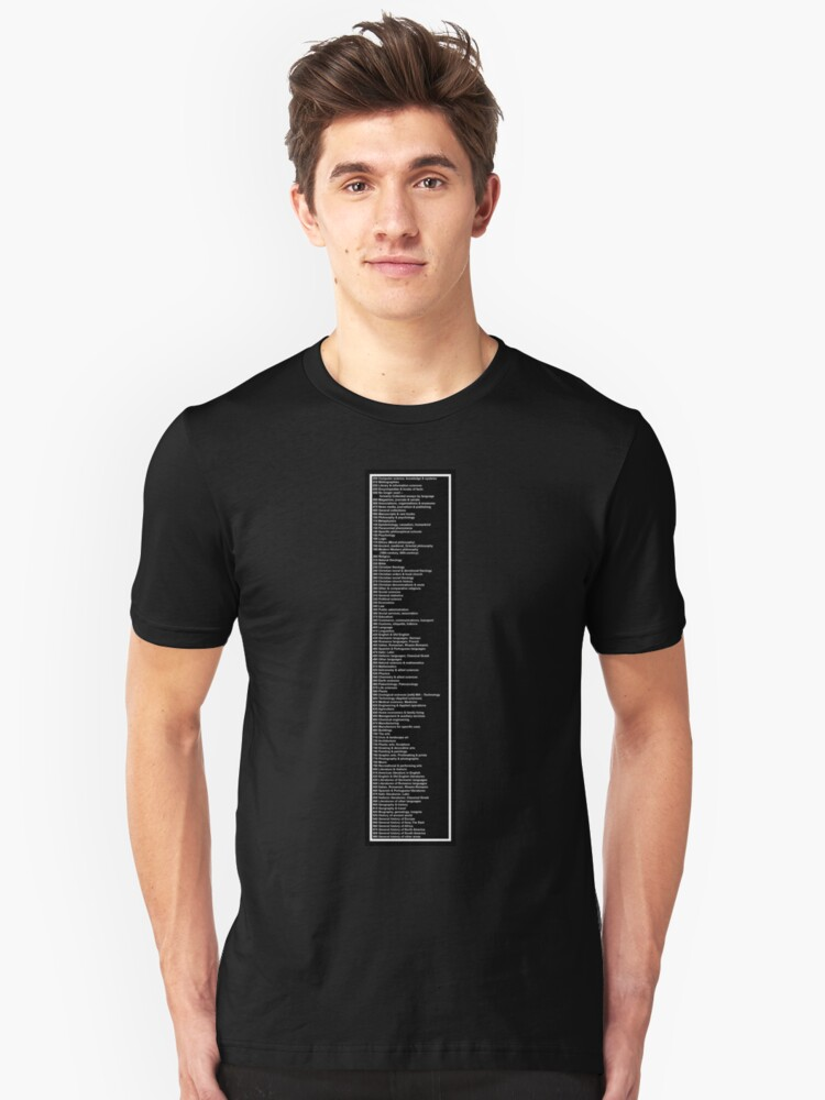 Library Sign - Dewey Decimal System by Tens -  Black Unisex T-Shirt Front