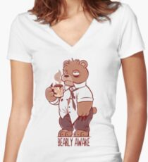Bearly Awake Women's Fitted V-Neck T-Shirt
