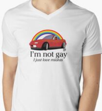 I'm not gay I just love my Miata! Men's V-Neck T-Shirt