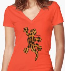 Gecko Like Leopard Women's Fitted V-Neck T-Shirt