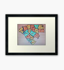 Colorized Upstate South Carolina Map Framed Print