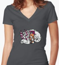 Dragon with Fox Plushie Women's Fitted V-Neck T-Shirt