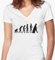 Dark side of Evolution Women's Fitted V-Neck T-Shirt