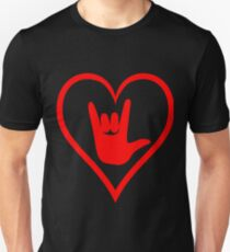 ASL (American Sign Language) Tshirt - I Love You Heart Unisex T-Shirt
