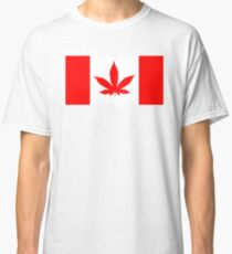 Red Canadian flag with marijuana leaf Classic T-Shirt