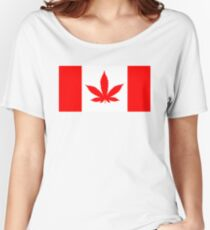 Red Canadian flag with marijuana leaf Women's Relaxed Fit T-Shirt