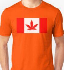Red Canadian flag with marijuana leaf Unisex T-Shirt