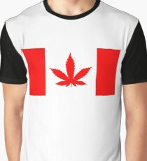 Red Canadian flag with marijuana leaf Graphic T-Shirt