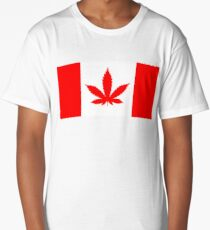 Red Canadian flag with marijuana leaf Long T-Shirt