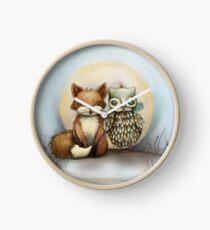 fox and owl Clock