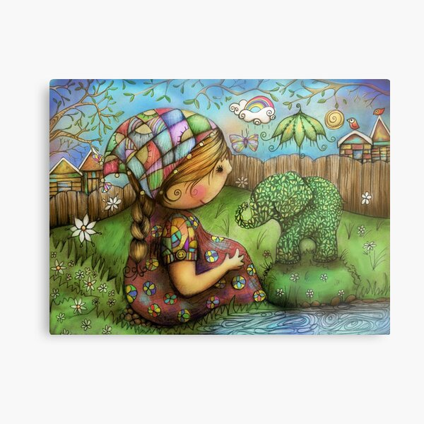 Theres an Elephant in my Garden Metal Print