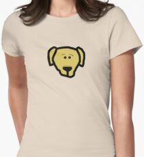 labrador retriever yellow cartoon head Womens Fitted T-Shirt