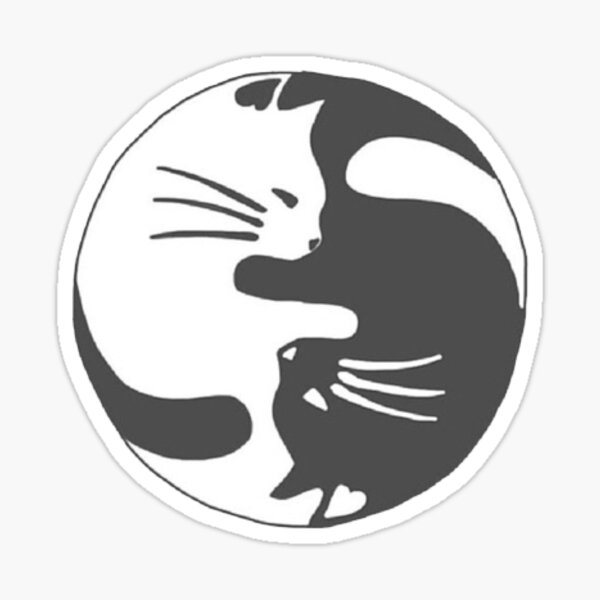 Ying Yang Kitty Sticker