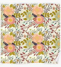 Elegant seamless pattern with flowers Poster