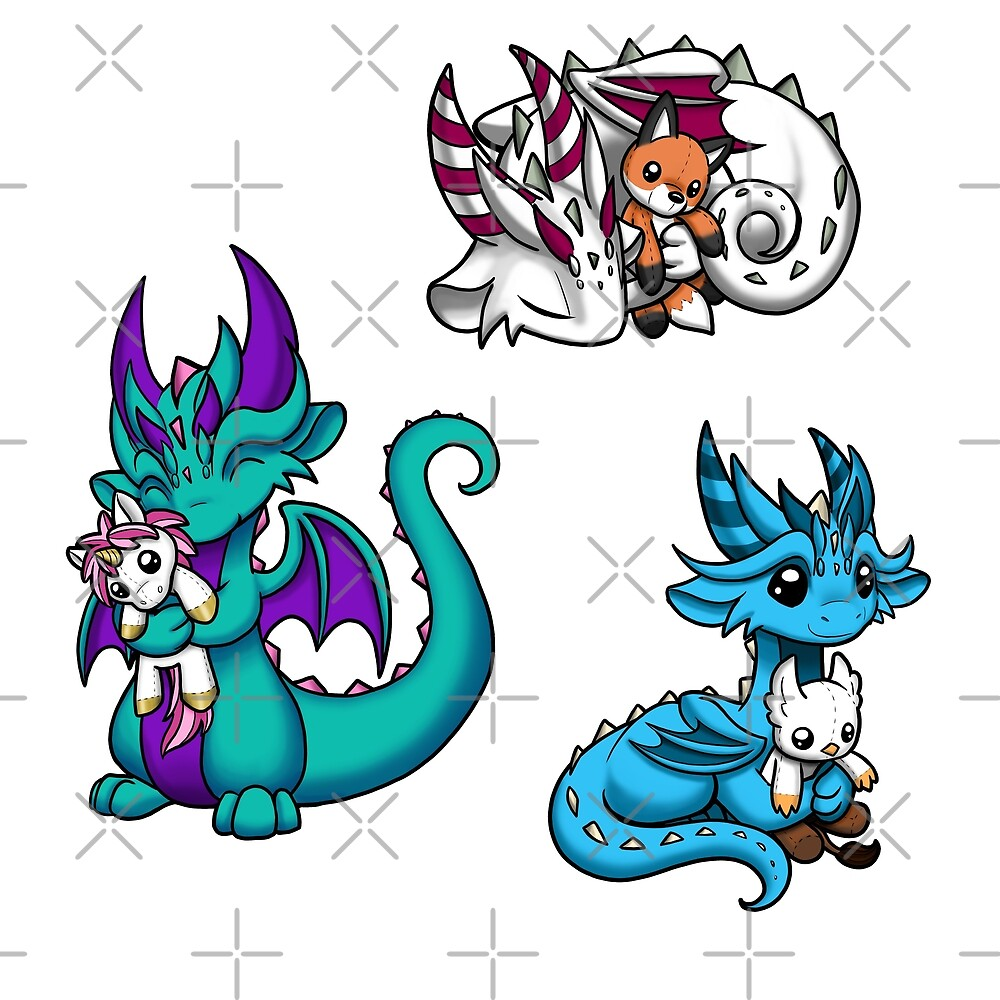Dragons with Plushies Sticker Pack 3 by Rebecca Golins