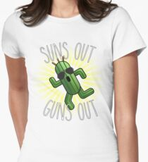 Final Fantasy Cactuar - Suns Out Guns Out (V.1) Womens Fitted T-Shirt