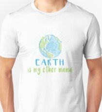 Earth is my other mama - Earth Scribble in Blue and Green Unisex T-Shirt