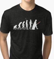 The Dark Side Of Evolution - White  Tri-blend T-Shirt