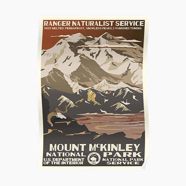 Retro WPA National Parks Poster of Denali Reimagined for the Future with Climate Change Poster
