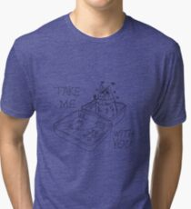 Black Line Suitcase Cat - Take Me With You Tri-blend T-Shirt