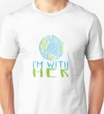 I'm With Her - Earth Scribble in Blue and Green Unisex T-Shirt