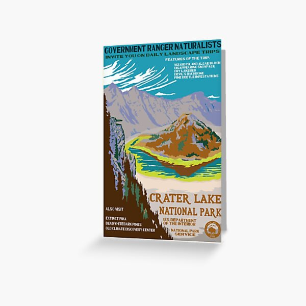 Retro WPA Poster of Crater Lake National Park Reimagined for the Future with Climate Change Greeting Card