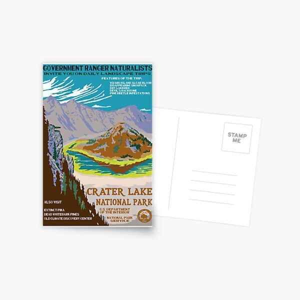 Retro WPA Poster of Crater Lake National Park Reimagined for the Future with Climate Change Postcard